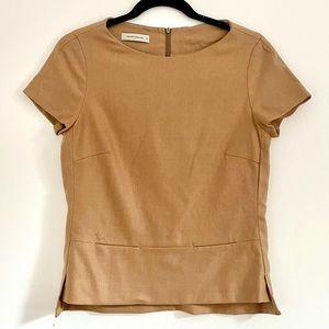 Rene Lezard Camel Wool Office Slim Fit Top